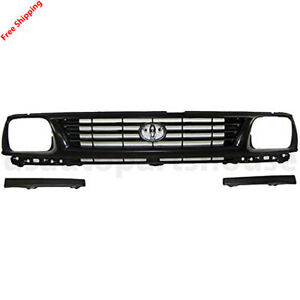 New For Toyota Tacoma 1995 1996 Front Grille Black Lower Bumper Filler Set 3pc