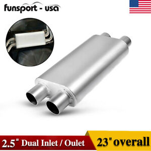 Diesel Muffler 2 5 Dual Inlet dual Outlet 3 Chamber Aluminized Steel Silencer