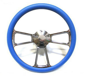 1961 1966 Dodge Dart Billet And Blue Steering Wheel Full Install Kit Horn