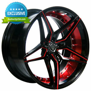 4 20 Staggered Marquee Wheels 3259 Black Red Inner Rims B14