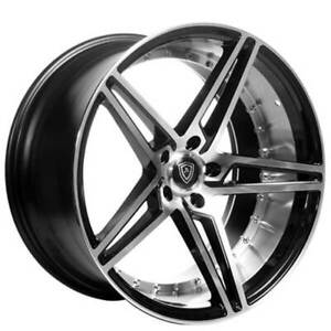 4 20 Staggered Marquee Wheels M3258 Black W Polish Inner Deep Concave b2