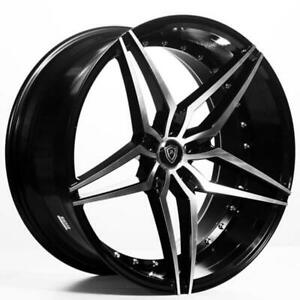 4 22 Staggered Marquee Wheels M3259 Black Machined Rims B1