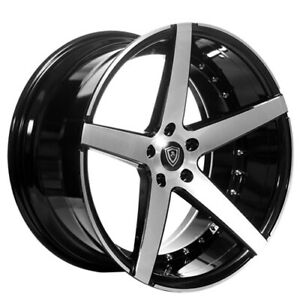 4 20 Staggered Marquee Wheels 3226 Black W Brush Face Rims B14