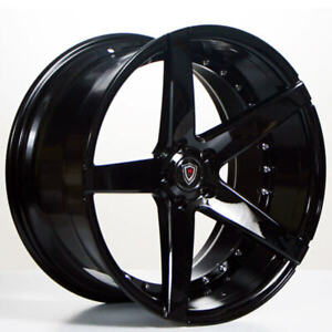4 20 Staggered Marquee Wheels 3226 Black Extreme Concave Rims b54