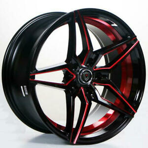 4 18 Staggered Marquee Wheels 3259 Black Red Inner Rims B14