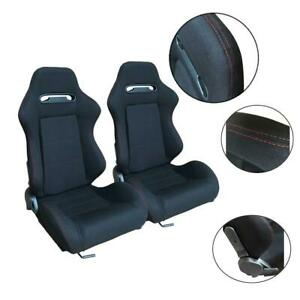 2pcs Left Right Sports Bucket Racing Seats Fits Universal Car Stitching Cloth
