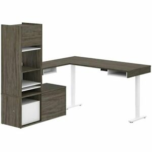 Bestar Pro vega L Shaped Adjustable Standing Desk With Tower Credenza In Gray