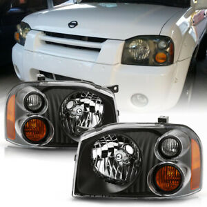 Black Headlight Replacement Driving Amber Signal Lamp For 01 04 Nissan Frontier