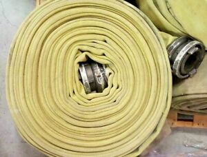 100 Foot Yellow Fire Hose 7 Inches Flat For Repurpose Boat Dock Bumper