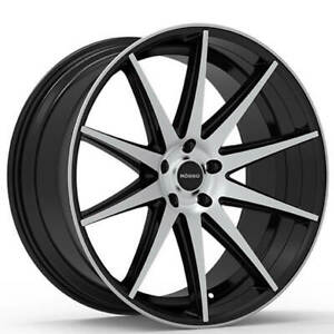 4 20 Staggered Rosso Wheels Legacy Gloss Black Machined Rims b30