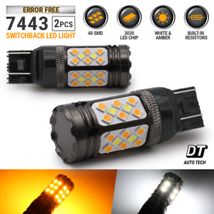 Error Free 7443 Switchback White Amber Dual Color Led Turn Signal Light Bulbs
