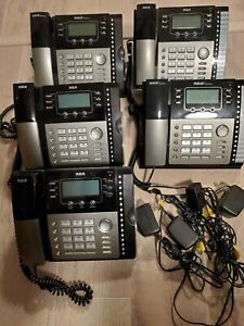Lot Of 5 Rca 4 line 25424re1 Business Phones With Stand And 4 Charger