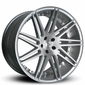 4 22 Staggered Road Force Wheels Rf11 Silver Brush Rims b1