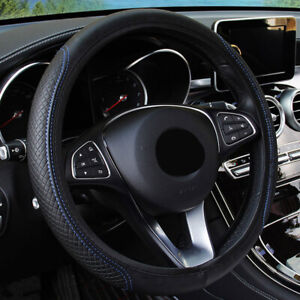 Pu Leather Steering Wheel Cover Anti Slip Protector For Car Fit 38cm Black Blue