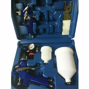 2 Hvlp Air Spray Gun Auto Paint Primer Detail Basecoat Clearcoat W box
