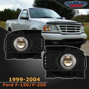 Fit Ford F 150 99 04 Clear Lens Pair Bumper Fog Light Lamp Halo Projector Dot