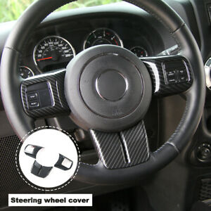 Carbon Fiber Steering Wheel Cover Trim Emblem Sticker Fit Grand Cherokee 3pc Set