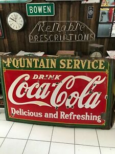 VINTAGE ORIGINAL PORCELAIN ADVERTISING SODA SIGN COCA COLA FOUNTAIN SERVICE ship