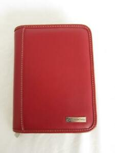 Franklin Covey Pocket Size Red Leather Zip Around 1 Rings Nice