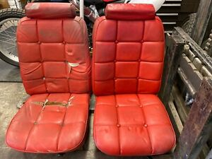 74 75 76 77 78 Ford Mustang Ii Coupe Ghia Front Bucket Seats Red Vinyl