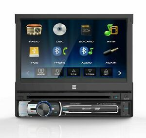 Dual 7quot; 1 DIN In Dash Bluetooth DVD CD Receiver w Flip Out Touchscreen $104.90