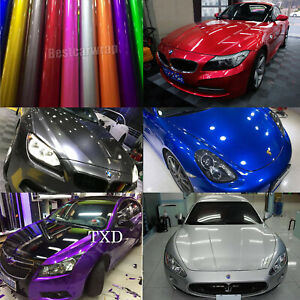 Auto Candy Metallic Gloss Vinyl Car Wrap Sticker Decal For Hood Roof Motorcycle