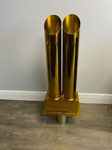 Custom Double Exhaust Stack Through Bed Chromed Powder Coated Translucent Gold