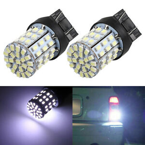 2pcs Super White 7443 7440 6000k 64 Smd Turn Signal Stop Brake Led Light Bulbs