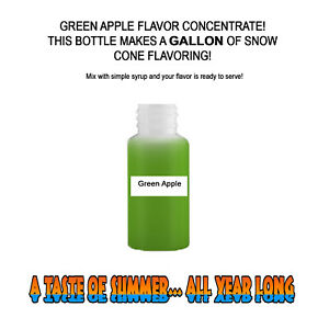 Green Apple Mix Snow Cone shaved Ice Flavor Concentrate Makes 1 Gallon