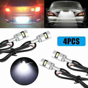 4x Led Motorcycle Car License Plate Screw Bolt Bulbs Light Ultra White Universal