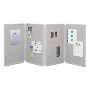 Quartet Tabletop Display 773630 4 Panels Two Sided Gray New In Box Free Case