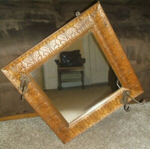 Vintage Carved Etched Wood Wall Hanging Mirror With Coat Hat Hooks 17 X 17