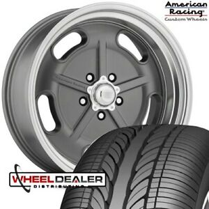 20 Inch Staggered American Racing Gray Salt Flat Wheels Tires Chevy Gmc C10 5x5