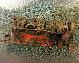 Chevrolet Tri Power Intake And Carbs 3749948 With Extra Rochester Carb For Parts
