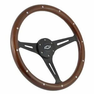 Split Spoke Steering Wheel For Chevrolet Mahogany Wood And Black Billet