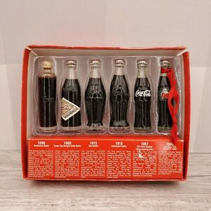 Coca Cola Evolution of Contour Bottle Miniature Replica Set of 6