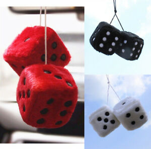 Colorful Plush Dice Hanging Decoration Car Rearview Mirror Pendant Ornaments