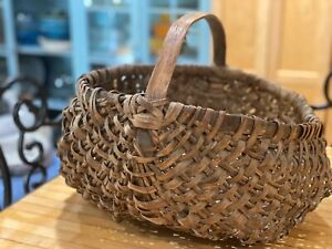 Estate Find Antique Vintage Split Oak Buttocks Gathering Basket Free Ship