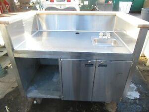 Stainless Steel Espresso Cart bar With Water Heater sink On Casters