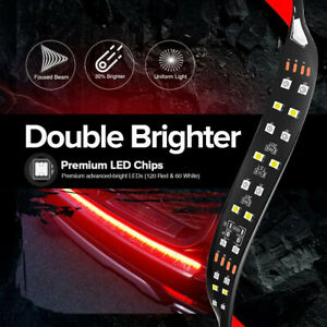 60 2 Row Led Truck Tailgate Light Bar Strip Red White Reverse Stop Signal Usa