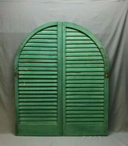 Antique Pair Arched Dome Top Wood Louvered Window Shutters 20x48 Old Vtg 228 20b