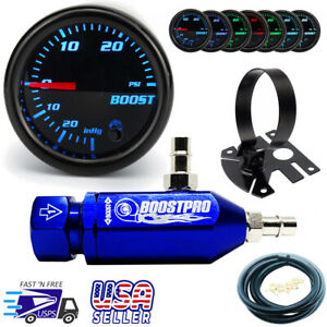 Manual Boost Controller Kit Blue Mbc 0 30psi Turbo 7 Color Boost Gauge Mount