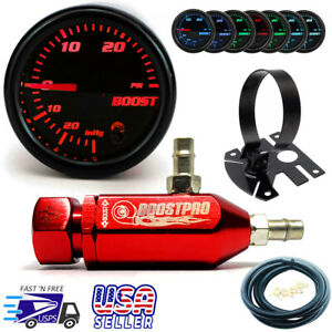 Manual Boost Controller Kit Red Mbc 0 30psi Turbo 7 Color Boost Gauge Mount
