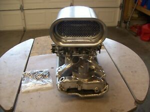 Small Block Chevy Edlebrock Intake And 600 4 Barrel Carb And Rpc Scoop Polished