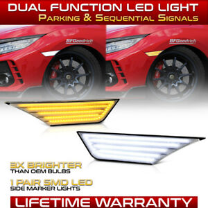 switchback White amber For 16 20 Honda Civic Chrome Side Marker Light Lamp Set