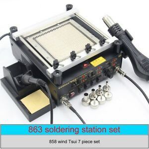 605w 3 In 1 Hot Air Gun soldering Iron ir Preheating Station Bga Rework Station