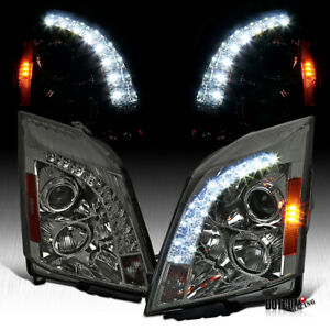 For 2008 2014 Cadillac Cts Smoke Lens Projector Headlights W Led Drl Strip