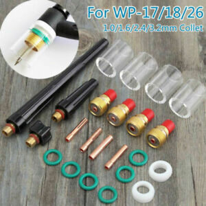 23pcs Tig Welding Torch Gas Lens Heat Cup Collets Consumables For Wp 17 18 26