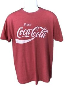 COCA COLA Shirt Red Short Sleeve Crewneck Heather TEE Men's Size Large