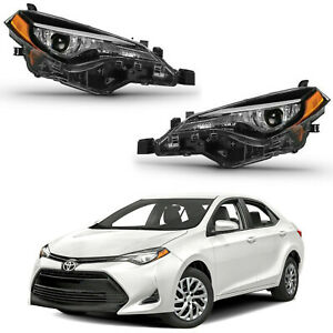 For 2017 2018 2019 Toyota Corolla Le Ce Headlights Factory Replacement Black